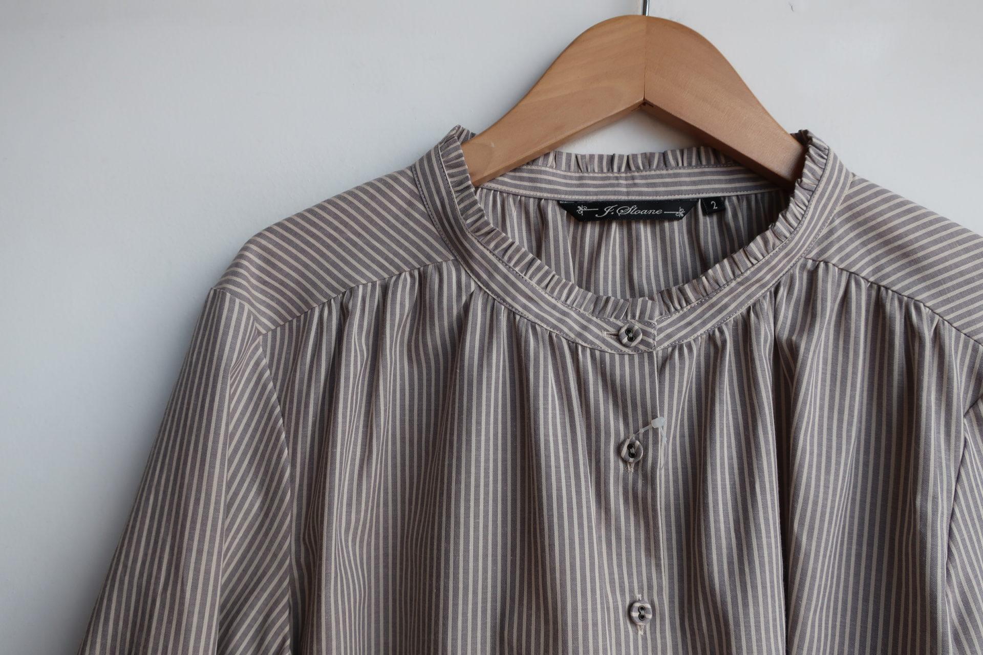 J.Sloane アースストライプネックフリルシャツ