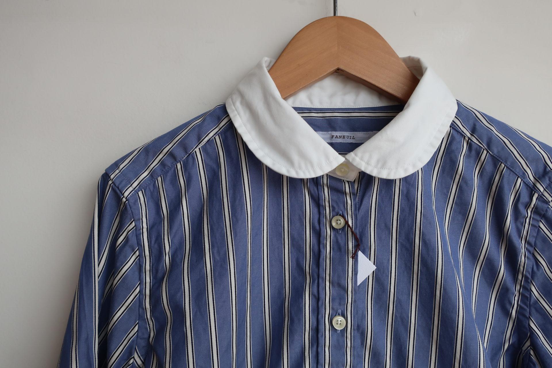 faneuil ストライプラウンドチップカラーシャツ(sold out)