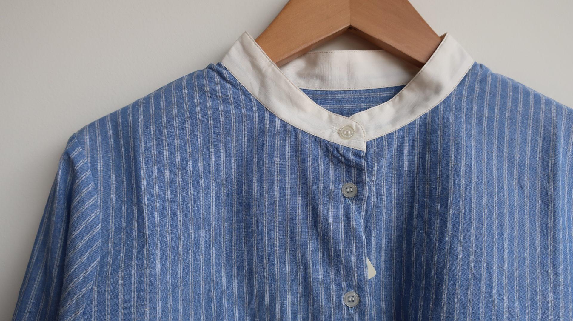 Parkes 綿麻ストライプバンドカラーシャツ