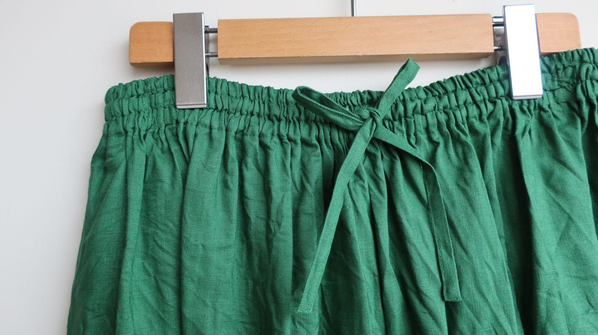 ina フレンチリネンキャンバスワッシャーギャザースカート